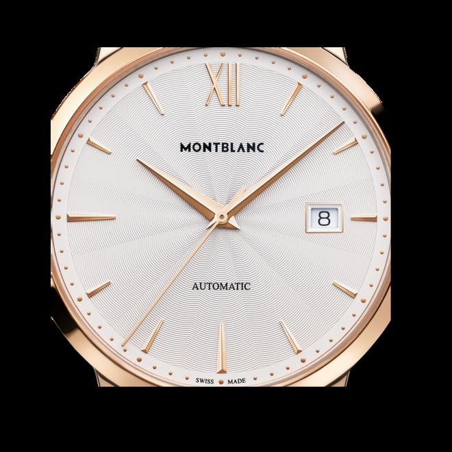 Herrenuhr Montblanc Heritage Spirit Date Automatic mit silberfarbenem Zifferblatt und Alligatorenleder-Armband bei Brogle