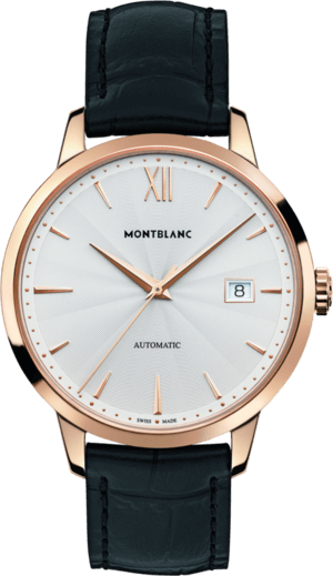 Herrenuhr Montblanc Heritage Spirit Date Automatic mit silberfarbenem Zifferblatt und Alligatorenleder-Armband