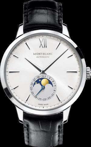 Herrenuhr Montblanc Heritage Spirit Moonphase mit weißem Zifferblatt und Alligatorenleder-Armband