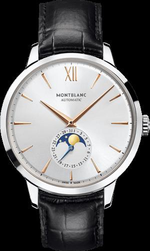 Herrenuhr Montblanc Heritage Spirit Moonphase mit silberfarbenem Zifferblatt und Alligatorenleder-Armband