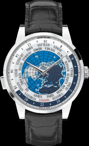 Herrenuhr Montblanc Heritage Spirit Orbis Terrarum mit blauem Zifferblatt und Alligatorenleder-Armband