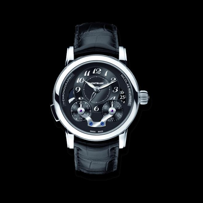 Herrenuhr Montblanc Nicolas Rieussec Chronograph Automatic mit schwarzem Zifferblatt und Alligatorenleder-Armband