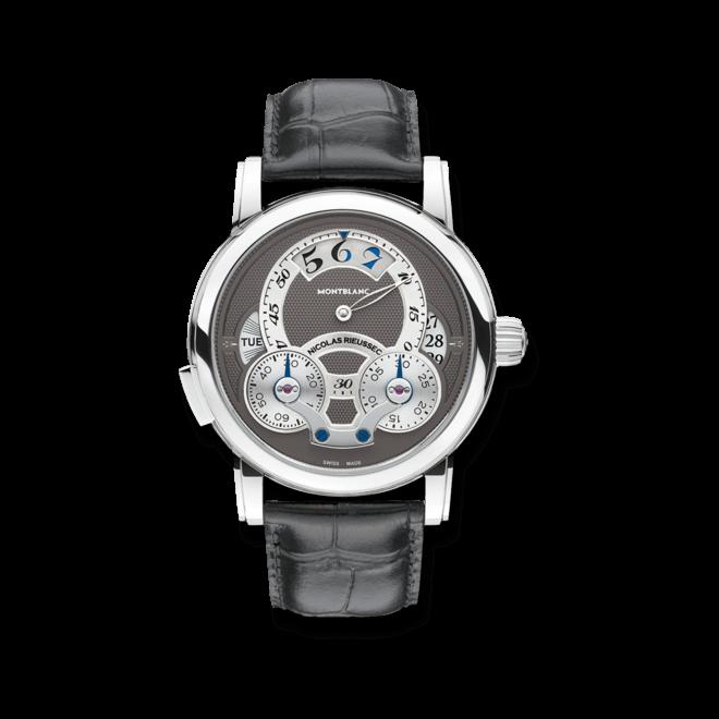 Herrenuhr Montblanc Nicolas Rieussec Rising Hours mit anthrazitfarbenem Zifferblatt und Alligatorenleder-Armband