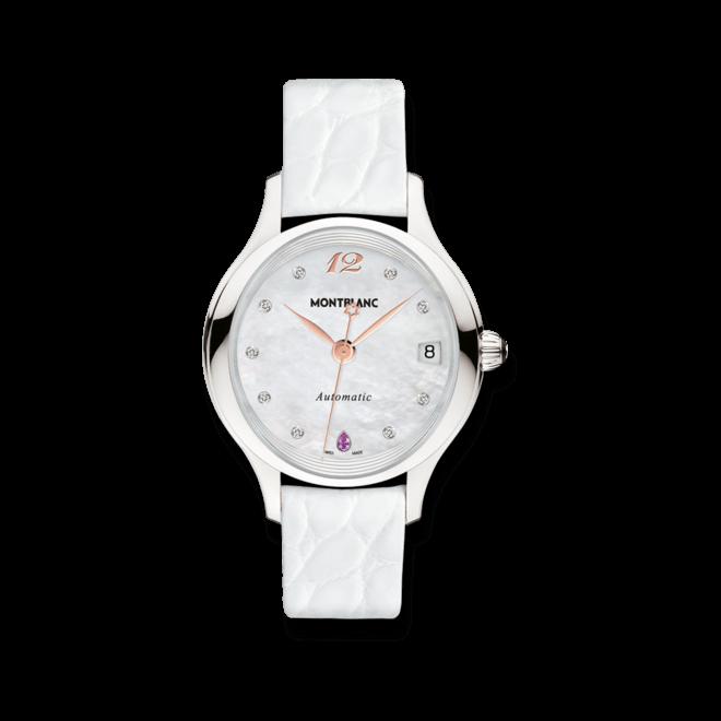 Damenuhr Montblanc Princesse Grace de Monaco Automatic mit Diamanten, weißem Zifferblatt und Alligatorenleder-Armband