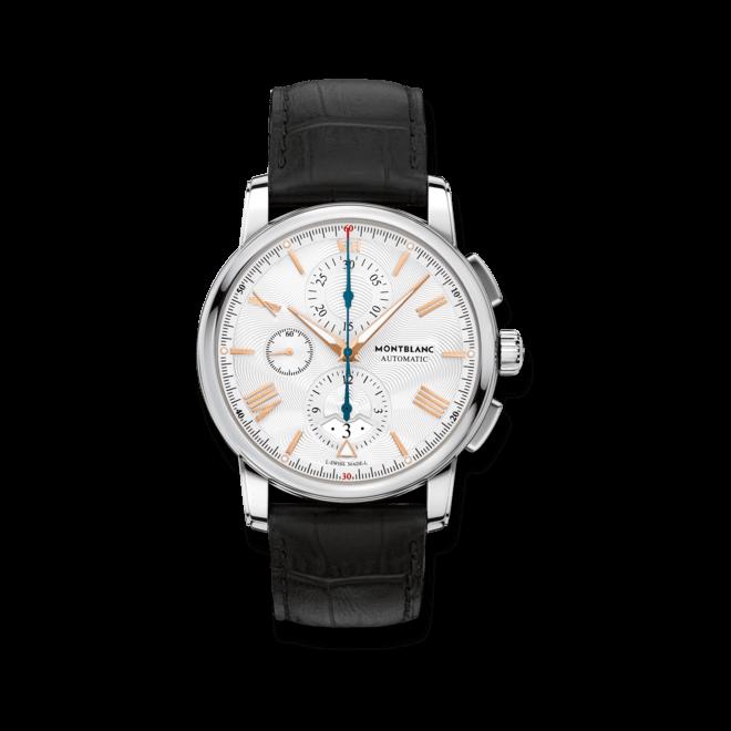 Herrenuhr Montblanc 4810 Chronograph mit weißem Zifferblatt und Alligatorenleder-Armband