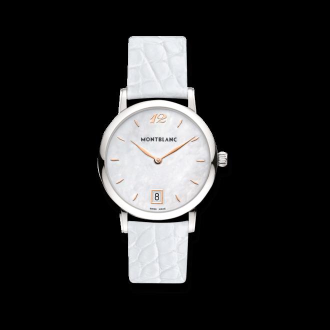 Damenuhr Montblanc Star Classique Lady mit weißem Zifferblatt und Alligatorenleder-Armband
