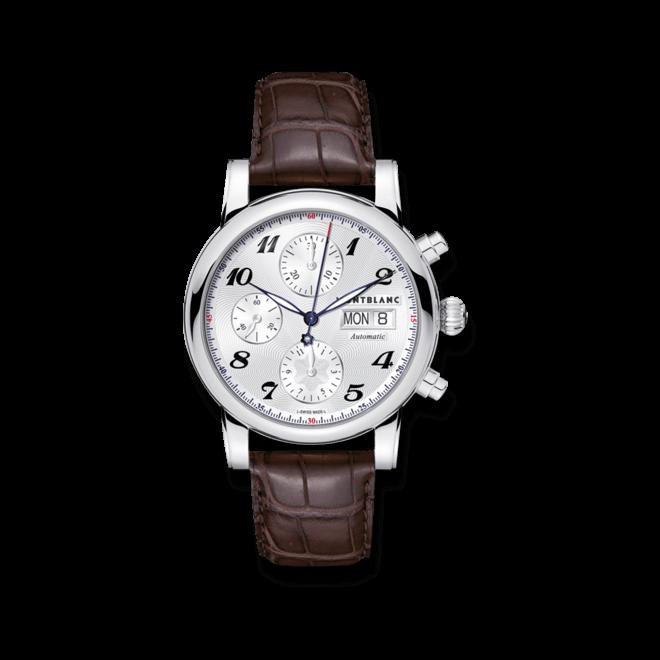 Armbanduhr Montblanc Star Chronograph Automatic mit silberfarbenem Zifferblatt und Alligatorenleder-Armband
