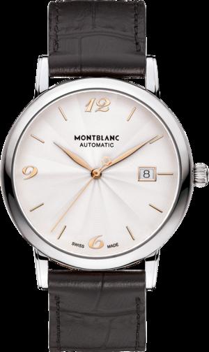 Herrenuhr Montblanc Star Classique Date Automatic mit weißem Zifferblatt und Alligatorenleder-Armband