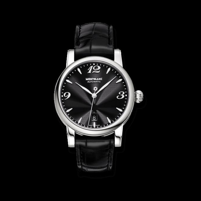 Damenuhr Montblanc Star Date Automatic mit schwarzem Zifferblatt und Alligatorenleder-Armband