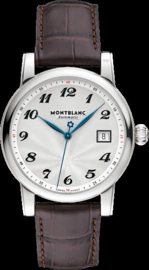 Armbanduhr Montblanc Star Date Automatic mit silberfarbenem Zifferblatt und Alligatorenleder-Armband