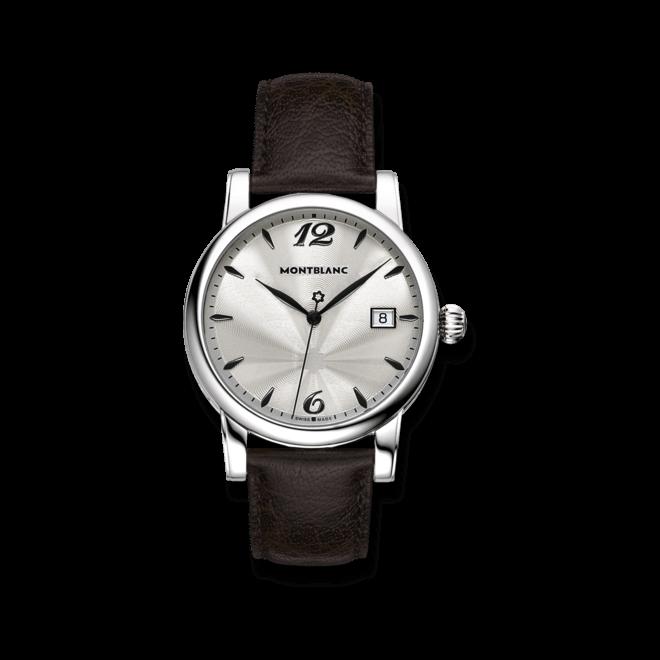 Damenuhr Montblanc Star Date Quarz mit silberfarbenem Zifferblatt und Rindsleder-Armband