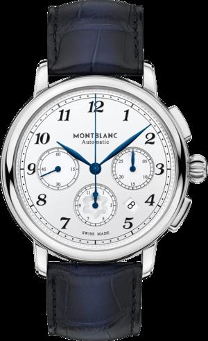 Herrenuhr Montblanc Star Legacy Automatic Chronograph mit weißem Zifferblatt und Alligatorenleder-Armband