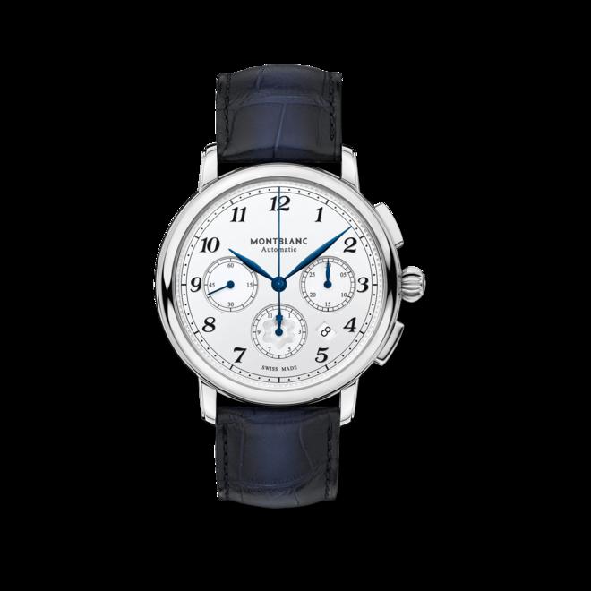 Herrenuhr Montblanc Star Legacy Automatic Chronograph mit weißem Zifferblatt und Alligatorenleder-Armband bei Brogle