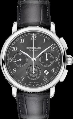 Herrenuhr Montblanc Star Legacy Automatic Chronograph mit grauem Zifferblatt und Alligatorenleder-Armband