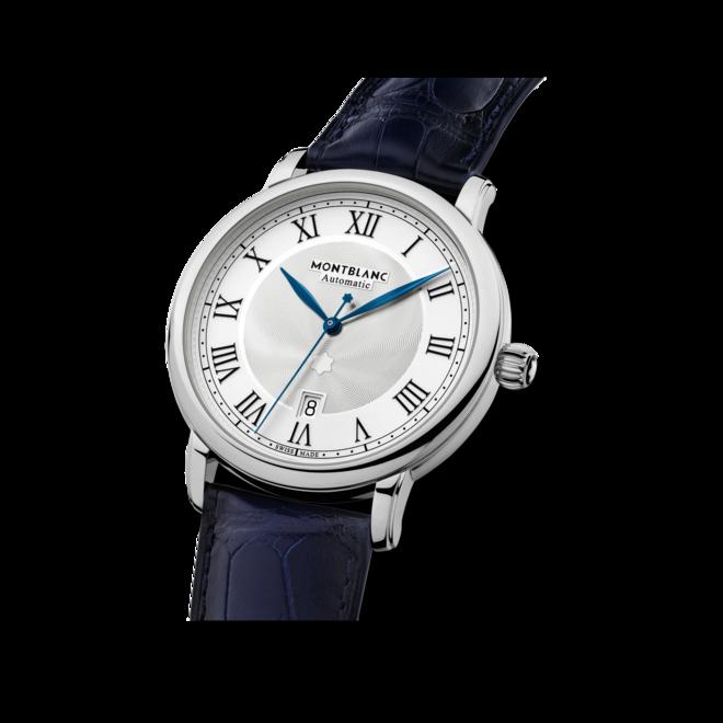 Herrenuhr Montblanc Star Legacy Automatic Date mit weißem Zifferblatt und Alligatorenleder-Armband bei Brogle