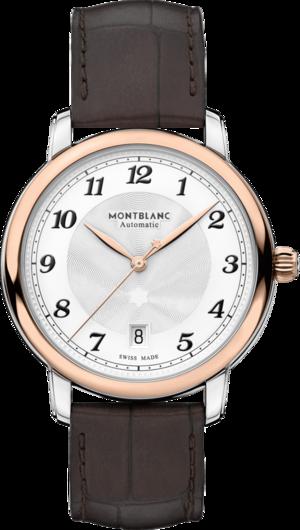Herrenuhr Montblanc Star Legacy Automatic Date 39mm mit silberfarbenem Zifferblatt und Alligatorenleder-Armband