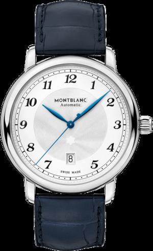 Herrenuhr Montblanc Star Legacy Automatic Date 42mm mit silberfarbenem Zifferblatt und Alligatorenleder-Armband
