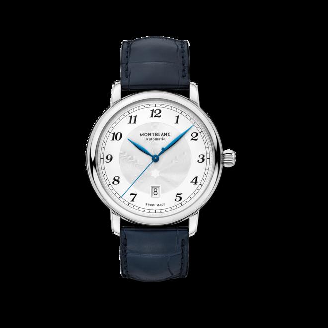 Herrenuhr Montblanc Star Legacy Automatic Date 42mm mit silberfarbenem Zifferblatt und Alligatorenleder-Armband bei Brogle