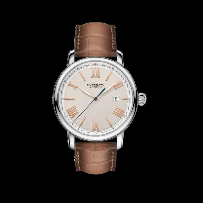 Herrenuhr Montblanc Star Legacy Automatic Date 43mm mit elfenbeinfarbenem Zifferblatt und Alligatorenleder-Armband bei Brogle