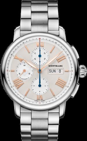 Herrenuhr Montblanc Star Legacy Chronograph Day & Date 43mm mit elfenbeinfarbenem Zifferblatt und Edelstahlarmband