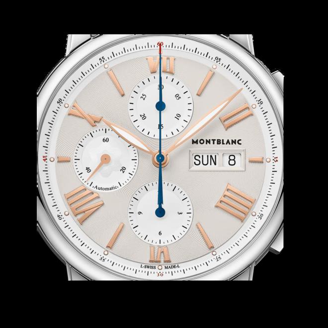 Herrenuhr Montblanc Star Legacy Chronograph Day & Date 43mm mit elfenbeinfarbenem Zifferblatt und Edelstahlarmband bei Brogle