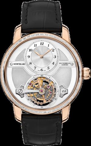 Herrenuhr Montblanc Star Legacy ExoTourbillon mit Diamanten, silberfarbenem Zifferblatt und Alligatorenleder-Armband
