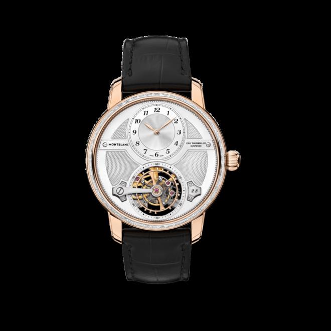 Herrenuhr Montblanc Star Legacy ExoTourbillon mit Diamanten, silberfarbenem Zifferblatt und Alligatorenleder-Armband bei Brogle