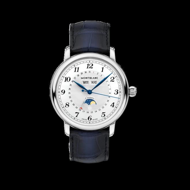 Herrenuhr Montblanc Star Legacy Full Calendar mit weißem Zifferblatt und Alligatorenleder-Armband bei Brogle