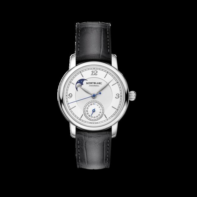 Herrenuhr Montblanc Legacy Moonphase & Date mit Diamanten, weißem Zifferblatt und Alligatorenleder-Armband bei Brogle