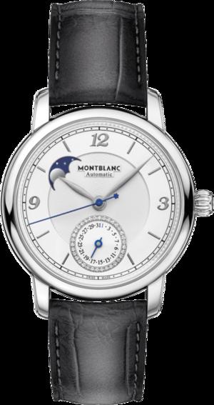 Herrenuhr Montblanc Legacy Moonphase & Date mit Diamanten, weißem Zifferblatt und Alligatorenleder-Armband