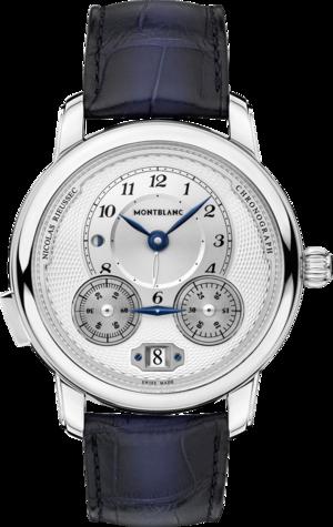 Herrenuhr Montblanc Star Legacy Nicolas Rieussec Chronograph mit silberfarbenem Zifferblatt und Alligatorenleder-Armband