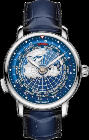 Herrenuhr Montblanc Star Legacy Orbis Terrarum mit blauem Zifferblatt und Alligatorenleder-Armband