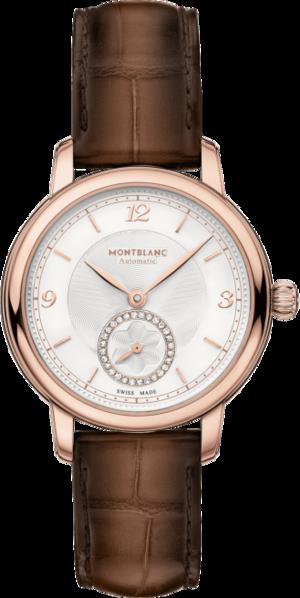 Damenuhr Montblanc Star Legacy Small Second 32mm mit Diamanten, elfenbeinfarbenem Zifferblatt und Alligatorenleder-Armband
