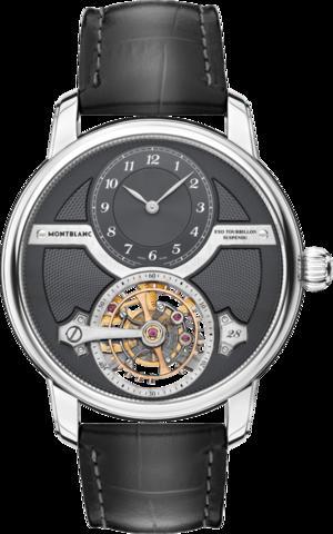 Herrenuhr Montblanc Legacy Suspended Exo Tourbillon Limited Edition mit anthrazitfarbenem Zifferblatt und Alligatorenleder-Armband