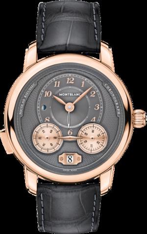 Herrenuhr Montblanc Nicolas Rieussec Chronograph mit anthrazitfarbenem Zifferblatt und Alligatorenleder-Armband