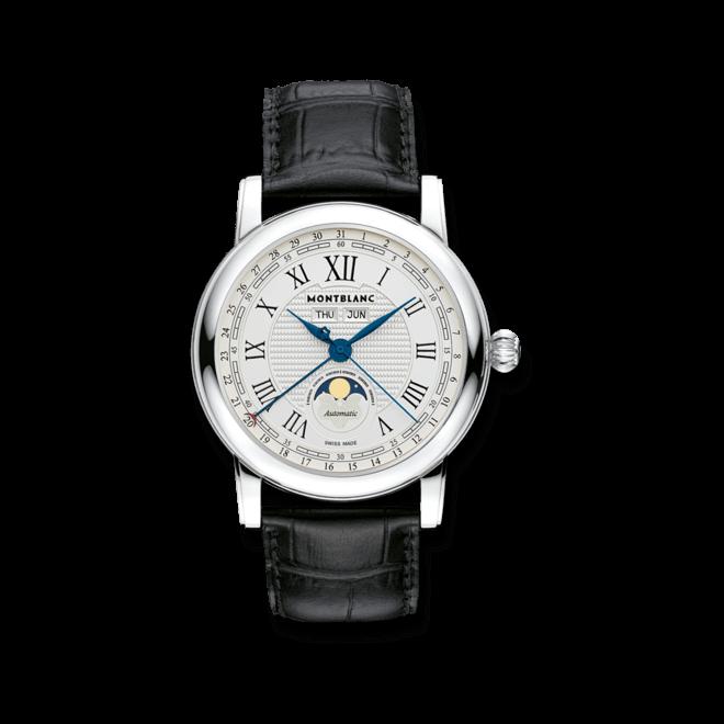 Armbanduhr Montblanc Star Quantième Complet mit weißem Zifferblatt und Alligatorenleder-Armband