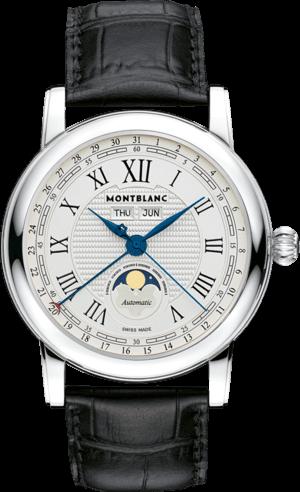Damenuhr Montblanc Star Quantième Complet mit weißem Zifferblatt und Alligatorenleder-Armband
