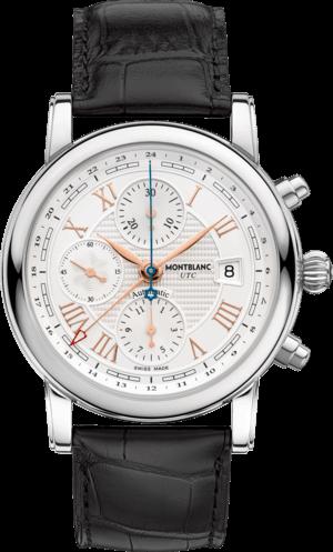"""Herrenuhr Montblanc Star Roman Chronograph UTC """"Carpe Diem"""" mit weißem Zifferblatt und Alligatorenleder-Armband"""