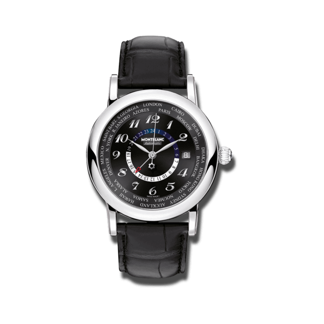 Herrenuhr Montblanc Star World-Time GMT Automatic mit schwarzem Zifferblatt und Alligatorenleder-Armband