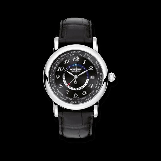 Armbanduhr Montblanc Star World-Time GMT Automatic mit schwarzem Zifferblatt und Alligatorenleder-Armband