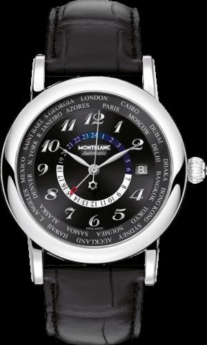 Herrenuhr Montblanc Star World-Time GMT Automatic mit schwarzem Zifferblatt und Alligatorenleder-Armband