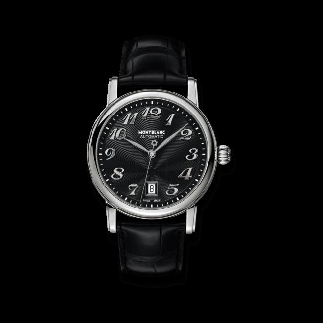 Damenuhr Montblanc Star XL Automatic mit schwarzem Zifferblatt und Alligatorenleder-Armband