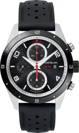 Herrenuhr Montblanc TimeWalker Chronograph Automatik mit schwarzem Zifferblatt und Kautschukarmband