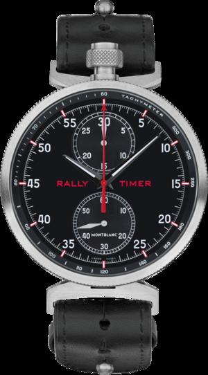 Herrenuhr Montblanc TimeWalker Chronograph Rally Timer mit schwarzem Zifferblatt und Kalbsleder-Armband
