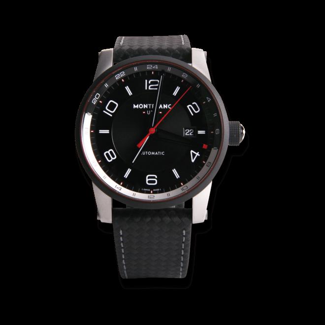 Herrenuhr Montblanc TimeWalker GMT Automatik mit schwarzem Zifferblatt und Armband aus Kalbsleder mit Textil