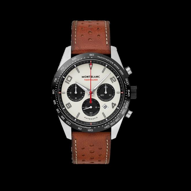 Herrenuhr Montblanc TimeWalker Manufaktur-Chronograph mit cremefarbenem Zifferblatt und Kalbsleder-Armband bei Brogle