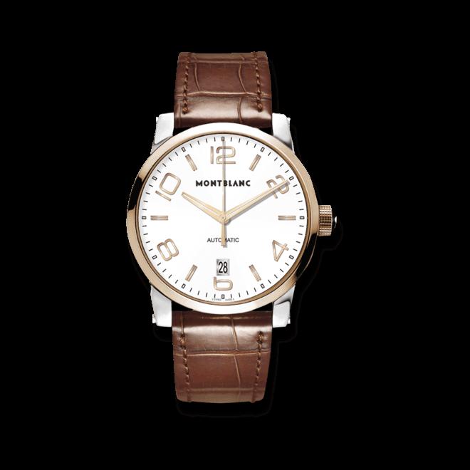 Herrenuhr Montblanc Timewalker Date Automatic mit weißem Zifferblatt und Alligatorenleder-Armband bei Brogle