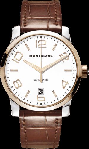 Herrenuhr Montblanc Timewalker Date Automatic mit weißem Zifferblatt und Alligatorenleder-Armband