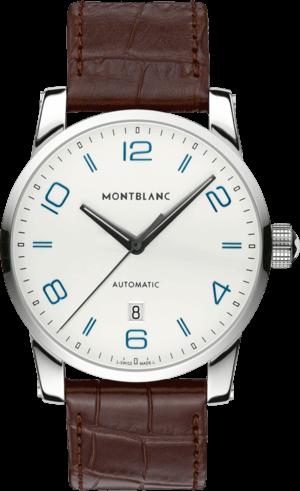 Herrenuhr Montblanc Timewalker Date Automatic mit silberfarbenem Zifferblatt und Alligatorenleder-Armband
