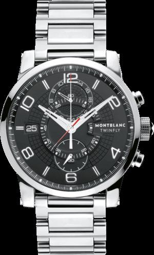 Herrenuhr Montblanc Timewalker TwinFly Chronograph mit schwarzem Zifferblatt und Edelstahlarmband